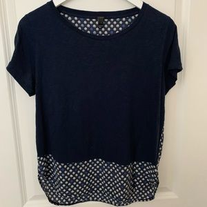J. Crew Navy Printed Blouse